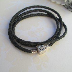 Chamilia leather necklace bracelet triple